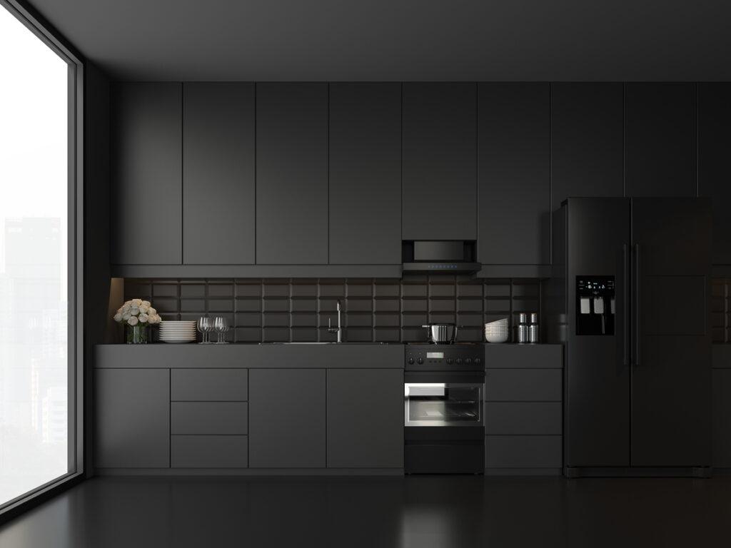 Moderne keuken met zwarte acrylaatvloer